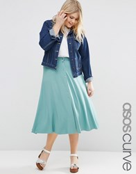 Asos Curve Midi Skater Skirt With Poppers Sage Green