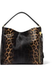 Tom Ford Alix Small Leather Trimmed Leopard Print Calf Hair Tote Black