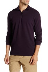 Agave Perry Long Sleeve Zip Mock Neck Flat Back Pullover Purple
