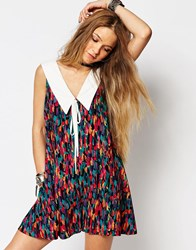 Reclaimed Vintage Swing Dress With Collar Detail Multi