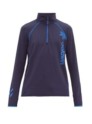 Goldwin Logo Print Zipped Fleece Navy