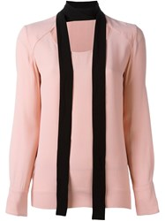 Marni Cut Out Scarf Blouse Pink And Purple
