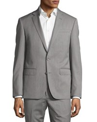 Neiman Marcus Dag Two Button Two Piece Suit Gray Pattern