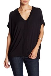 H By Bordeaux V Neck Dolman Sleeve Tee Black