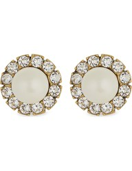 Marc Jacobs Pearlescent Crystals Stud Earrings Cream Antique Gold