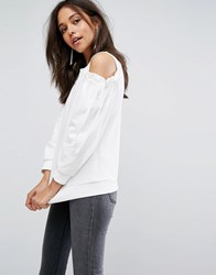 Evidnt Cold Shoulder Tie Sweatershirt White