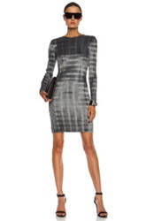 Alexander Wang Pleated Knee Length Poly Dress In Gray Checkered And Plaid Metallics