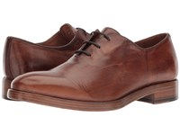 Frye Chase Oxford Natural Tumbled Waxed Calf Lace Up Wing Tip Shoes Brown