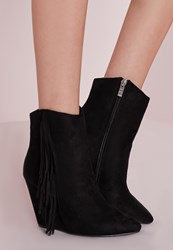 Missguided Tassel Side Wedge Boots Black Black