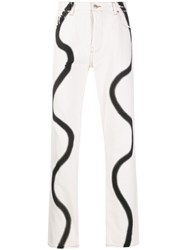 Martine Rose Squiggle Print Jeans White