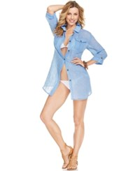 Dotti Shirtdress Cover Up Women's Swimsuit Blue