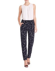 Ellen Tracy Tailored Printed Pants Blue