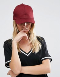 Asos Plain Baseball Cap With New Fit Burgundy Red