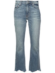 Derek Lam 10 Crosby Gia Cropped Flare With Destroyed Hem Blue