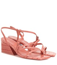 Mercedes Castillo Kelise Croc Effect Leather Sandals Pink