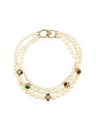 Givenchy Vintage Pearl Effect Three Tier Necklace White