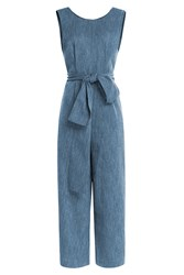 Isa Arfen Cotton Linen Belted Jumpsuit Blue
