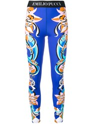 Emilio Pucci Abstract Print Leggings Blue
