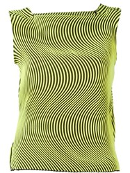 Issey Miyake Wave Pleat Sleeveless Top Yellow And Orange
