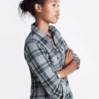 Madewell Flannel Zip Front Popover Shirt In Washburn Plaid