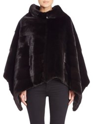 The Fur Salon Cowlneck Diagonal Mink Fur Poncho Black