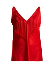 Diane Von Furstenberg Deep V Neck Fringed Top Red