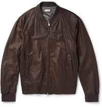 Brunello Cucinelli Leather Bomber Jacket Chocolate