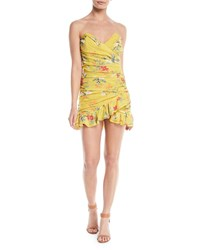 Lovers Friends Casey Ruched Strapless Floral Mini Dress Yellow Pattern