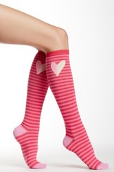 Kate Spade Heart And Stripe Knee High Sock Red
