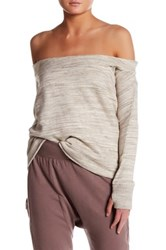 Grey State Off The Shoulder Long Sleeve Sweater Gray