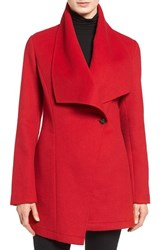 Laundry By Shelli Segal Petite Women's Double Face Drape Collar Coat Red