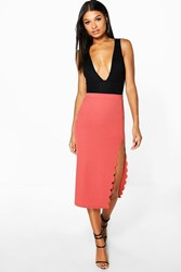 Boohoo Scallop Thigh Split Longline Midi Skirt Antique Rose