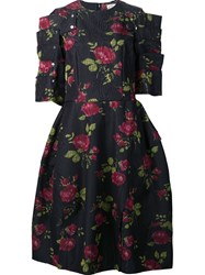 Comme Des Garcons Rose Print Full Dress Black