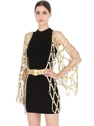 Zana Bayne Leather Diamante Belted Kimono Dress