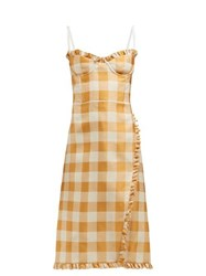 Brock Collection Ossana Ruffle Trimmed Checked Dress Orange Multi