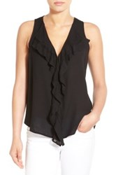 Matty M Ruffled V Neck Sleeveless Blouse Black