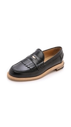 Band Of Outsiders Slipped Heel Penny Loafers Black