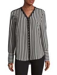 Jones New York Striped Snap Button Blouse Black Ivory