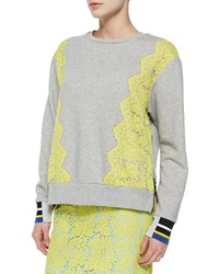Preen By Thornton Bregazzi Lace Trimmed Zip Slit Sweatshirt