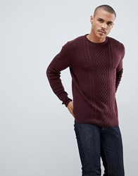 Tom Tailor Cable Knit Jumper In Wine Navy