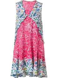 Mary Katrantzou Marble Print Dress Pink Purple