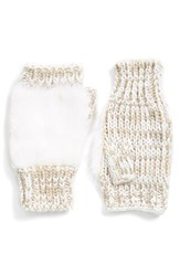 Women's Collection Xiix Faux Fur Fingerless Gloves Beige Frosted Oatmeal