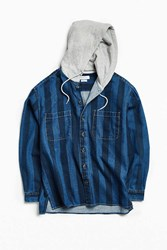 Urban Outfitters Uo Printed Denim Hooded Button Down Shirt Blue Multi