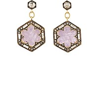 Cathy Waterman Women's Rustic Sapphire Hexagon Drop Earrings No Color