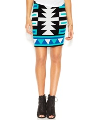 Rachel Rachel Roy Tribal Print Mini Skirt Ionian Blue Teal