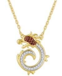 Macy's Diamond Dragon Pendant Necklace 1 10 Ct. T.W. In 14K Gold Plated Sterling Silver Yellow Gold
