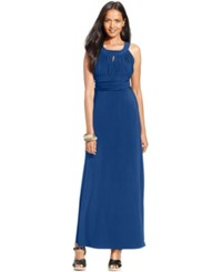Styleandco. Style And Co. Ruched Keyhole Halter Gown Only At Macy's Teal