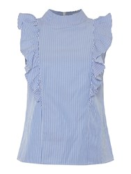 Ivy And Oak Sleeveless Woven Top In Pale Blue Blue