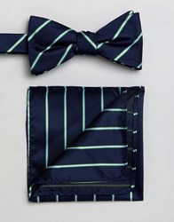 Selected Homme Bow Tie And Pocket Square Comb8 Green Stripe Multi