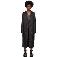 Rick Owens Black Long Quilted Liner Coat